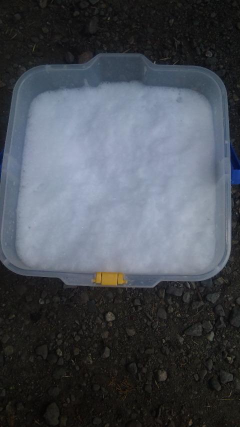 カーシャンプー適量をバケツに入れ、水を勢いよく注いでたくさん泡立てた状態