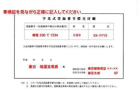 字光式登録番号交付願