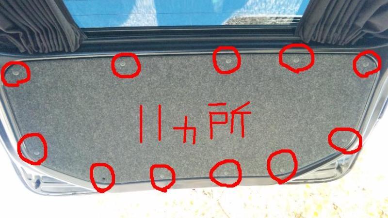 赤○印11ヵ所のピンを外す